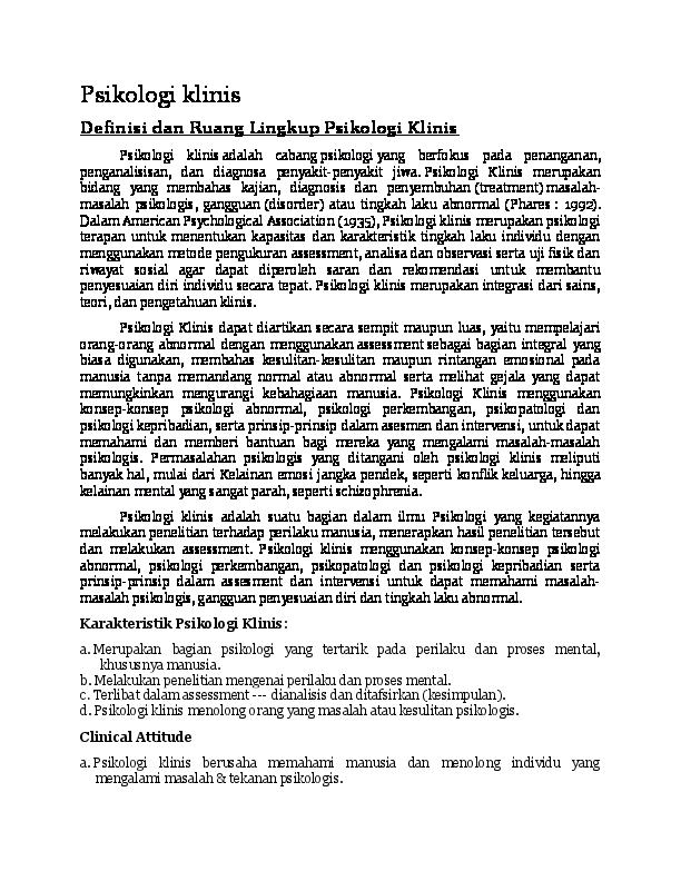 Doc Psikologi Klinis Definisi Ruang Lingkup Sejarah Dan Perkembangan Dian Noeraziz Academia Edu