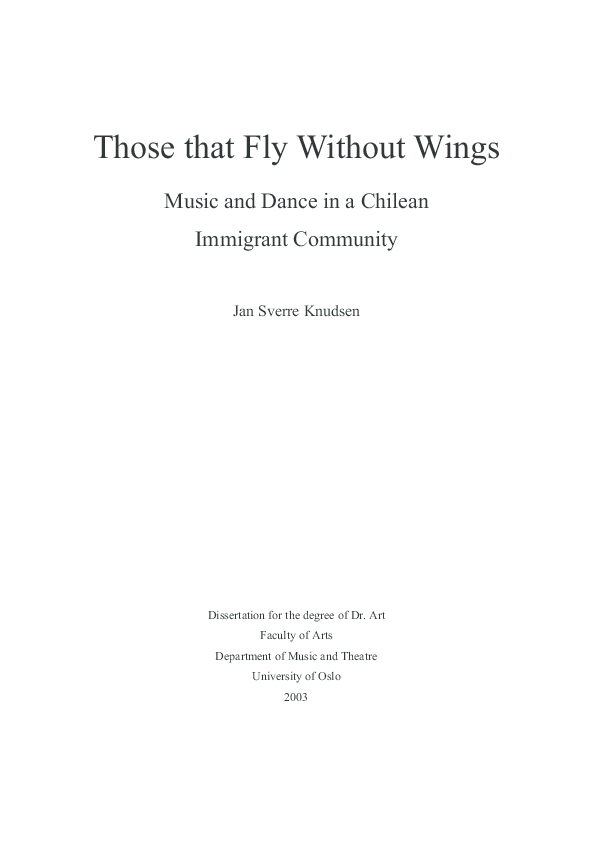 Pdf Those That Fly Without Wings Music And Dance In A