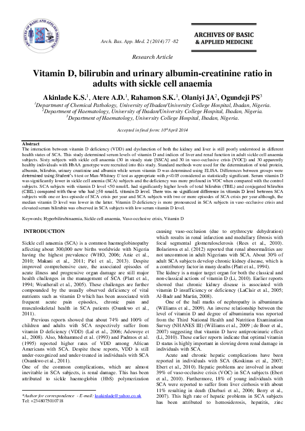 PDF) Vitamin D, bilirubin and urinary albumin-creatinine ratio in adults  with sickle cell anaemia | Sheu Quadri Rahamon and Adedeji David Atere -  Academia.edu