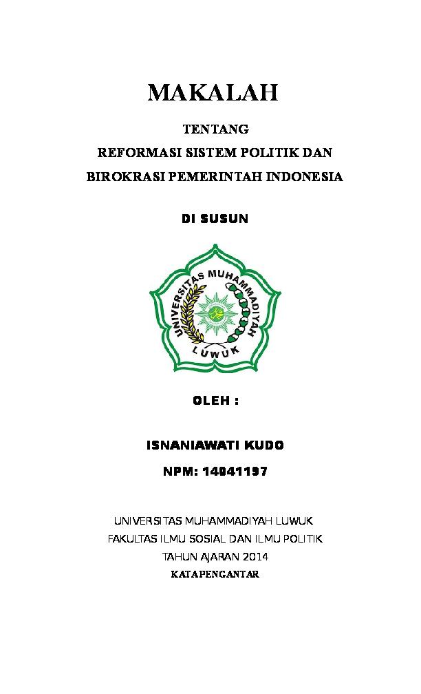 Doc Makalah Reformasi Birokrasi Oni Nambo Academia Edu