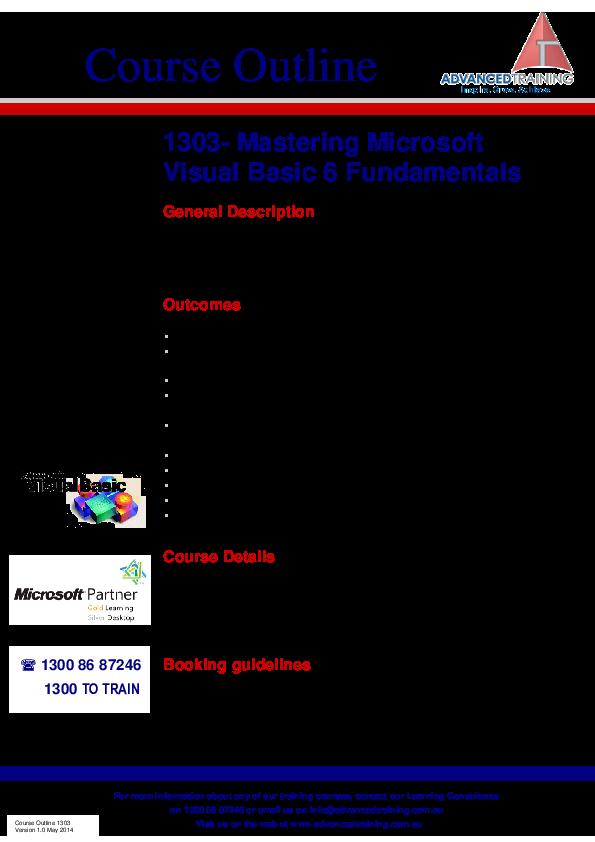 PDF) Course Outline 1303- Mastering Microsoft Visual Basic 6