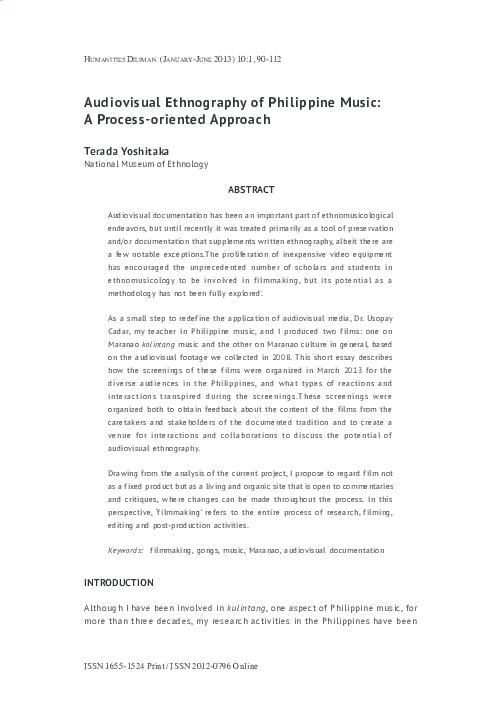 PDF) Audiovisual Ethnography of Philippine Music: A Process