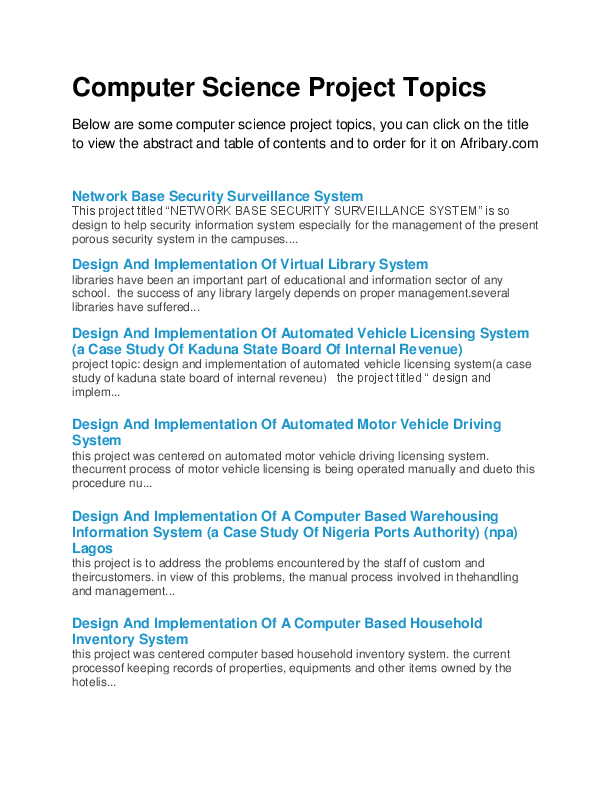 PDF) Top Computer Science Project Topics | Andrew Eze - Academia edu