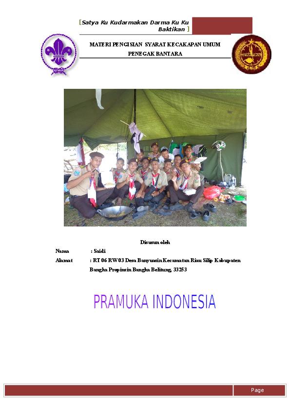 Doc Materi Pengisian Syarat Kecakapan Umum Penegak Bantara Saidi Saidi Academia Edu