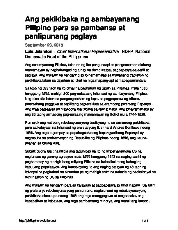 PDF) Ang pakikibaka ng sambayanang Pilipino para sa pambansa