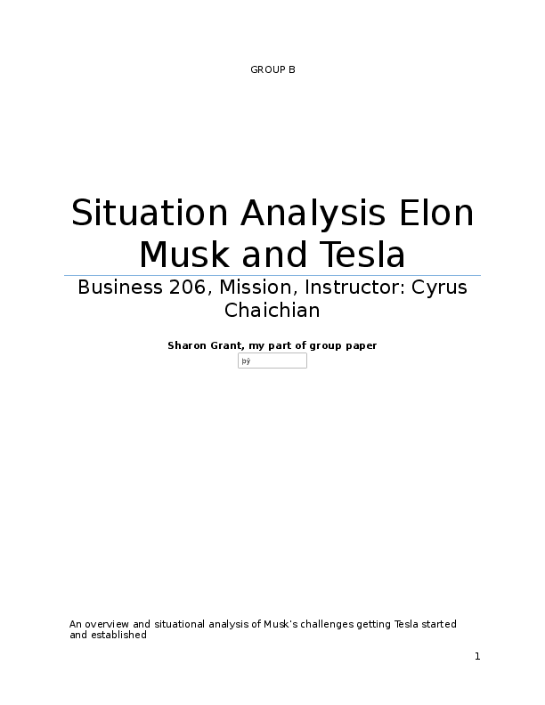 DOC) Tesla Motors Situational Analysis | Sharon Grant