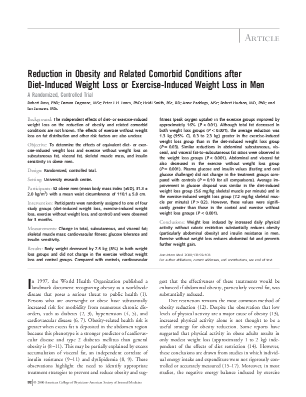 PDF) Reduction In Obesity and Related Comorbid Conditions After Diet