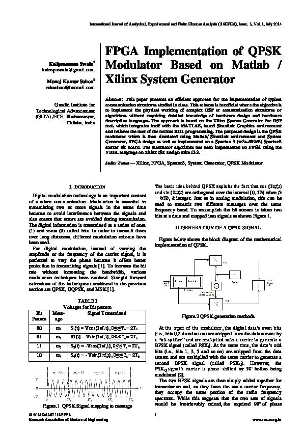 PDF) FPGA Implementation of QPSK Modulator Based on Matlab / Xilinx