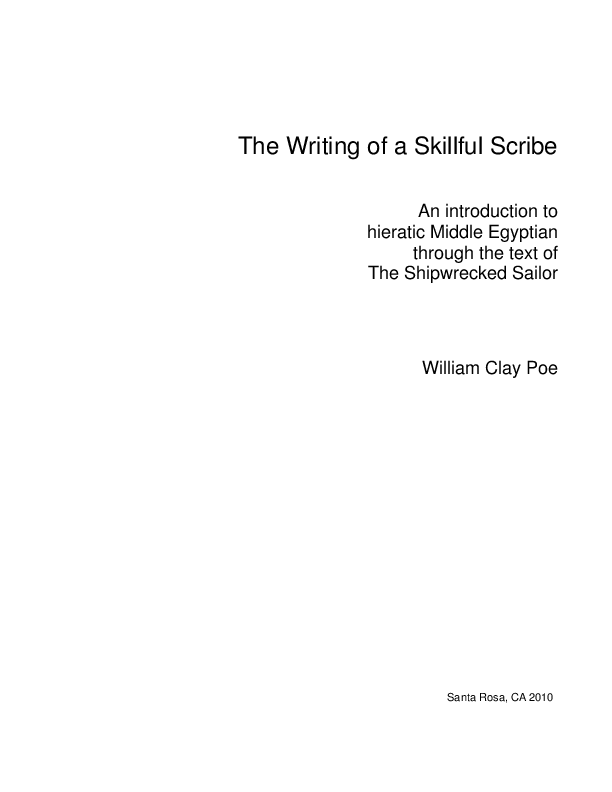PDF) The Writing of a Skillful Scribe An introduction to