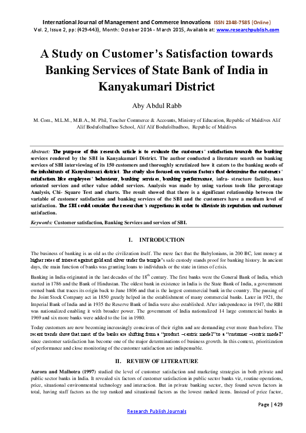 Research papers on customer satisfaction towards online banking
