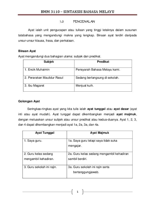 Pdf Bmm 3110 Sintaksis Bahasa Melayu Noorliza Abdullah Academia Edu