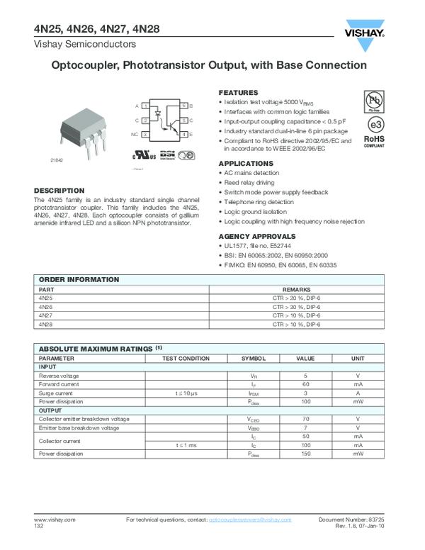 5x 4N25 OptokopplerPhototransistor,coupler