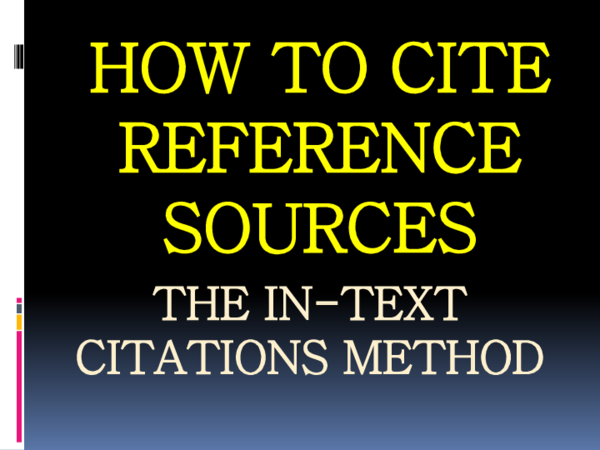 Pdf How To Cite Reference Sources The In Text Citations