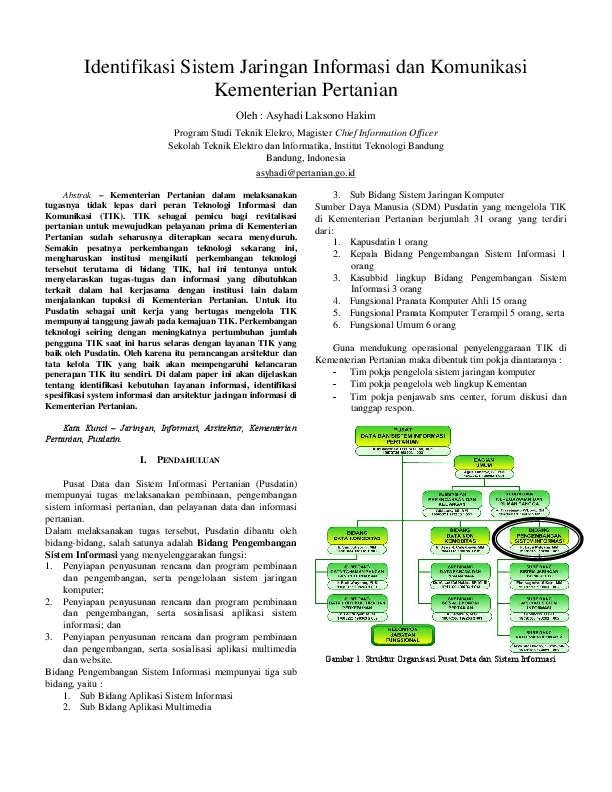 Pdf Identifikasi Sistem Jaringan Informasi Kementerian Pertanian