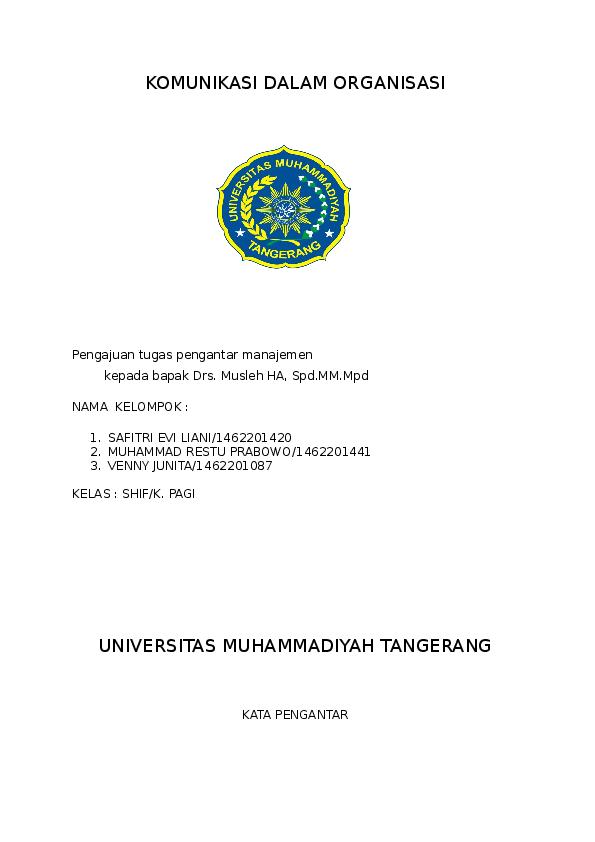 Doc Makalah Komunikasi Dalam Organisasi Safitri Evi Liani Academia Edu