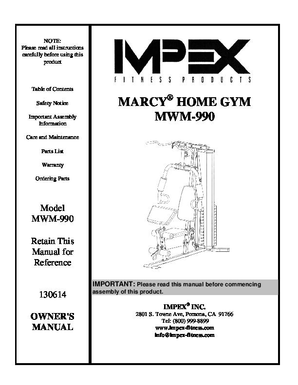 Pdf Marcy Home Gym Mwm 990 Manual Nery Cabrera