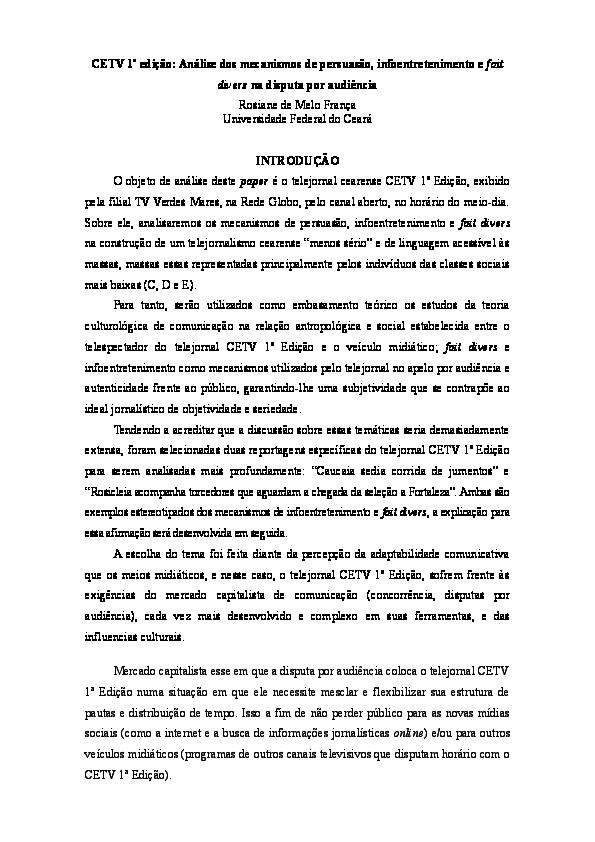 DOC) CETV 1ª edição: Análise dos mecanismos de persuasão