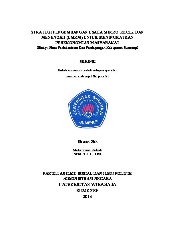 Pdf Skripsi Strategi Pengembangan Umkm Mohammad Rohedi Academia Edu