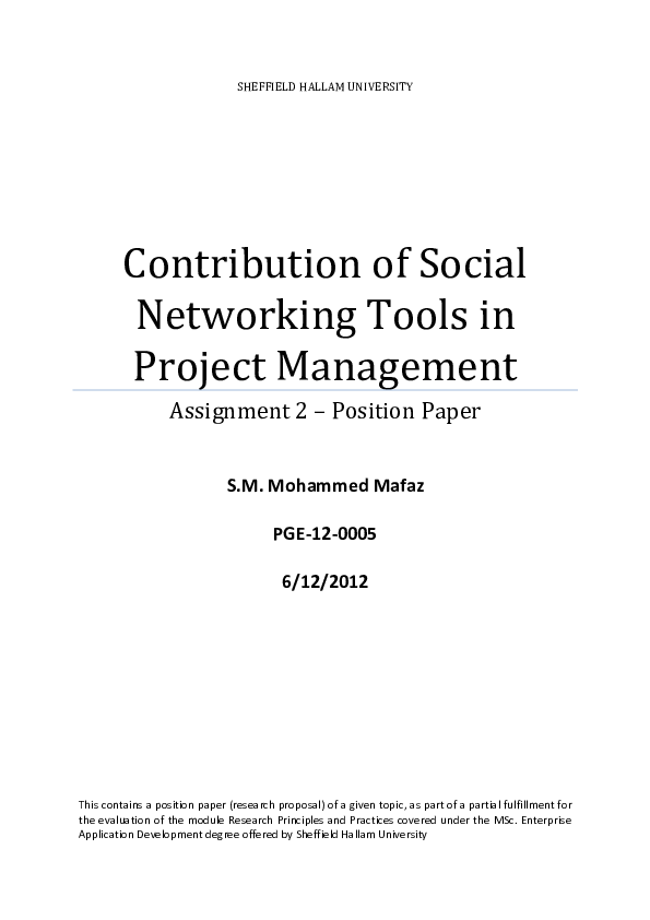 PDF) Contribution of Social Networking Tools in Project