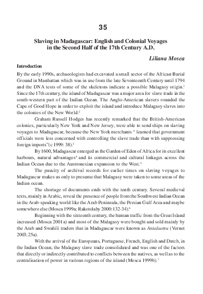 Pdf Slaving In Madagascar English And Colonial Voyages In The Second Half Liliana Mosca Academia Edu