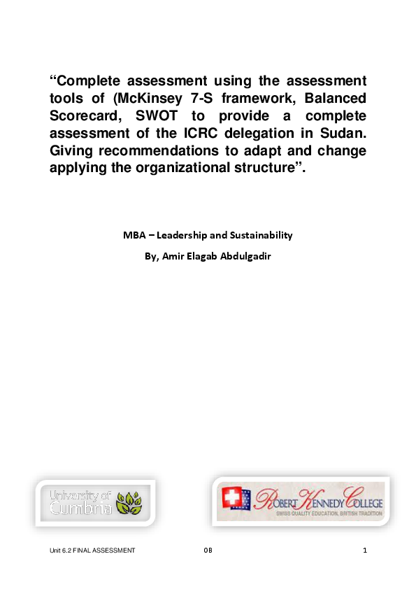 PDF) McKinsey 7-S framework, Balanced Scorecard, SWOT to provide a