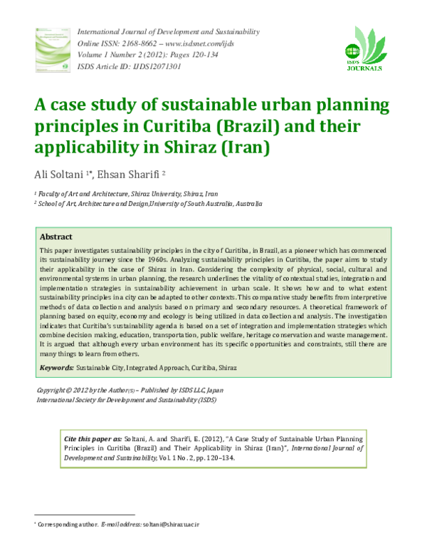 PDF) A Case Study of Sustainable Urban Planning Principles