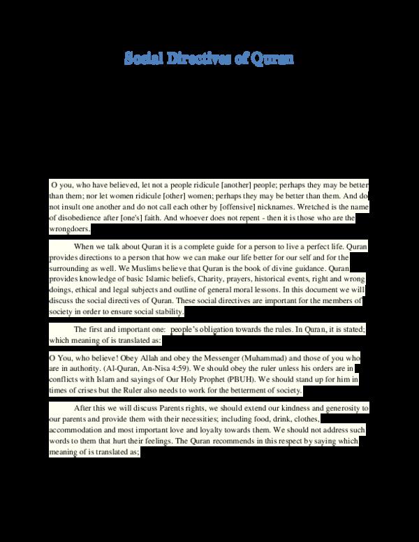 PDF) Social Directives Of Quran | Altamish Azhar - Academia edu