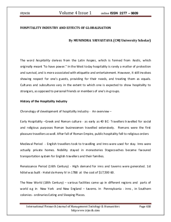 PDF) HOSPITALITY INDUSTRY AND EFFECTS OF GLOBALISATION