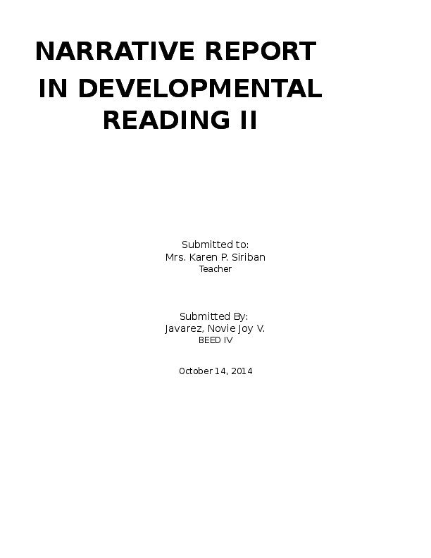 DOC) A NARRATIVE REPORT   Novie Joy Javarez - Academia edu