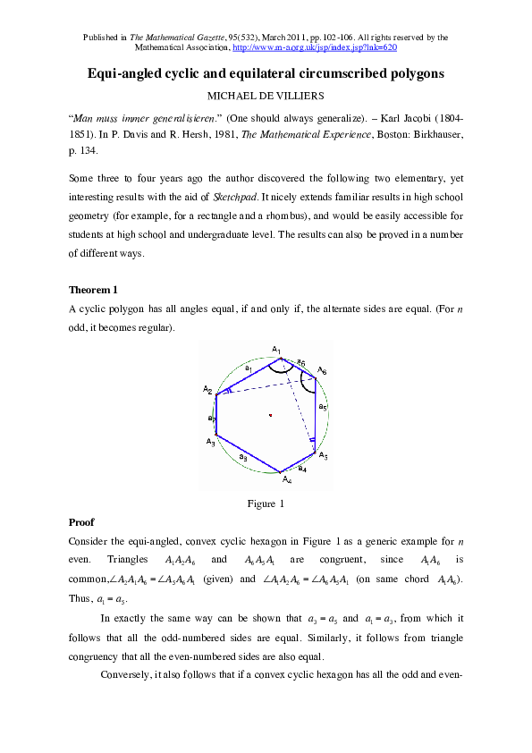 PDF) Equi-angled cyclic and equilateral circumscribed