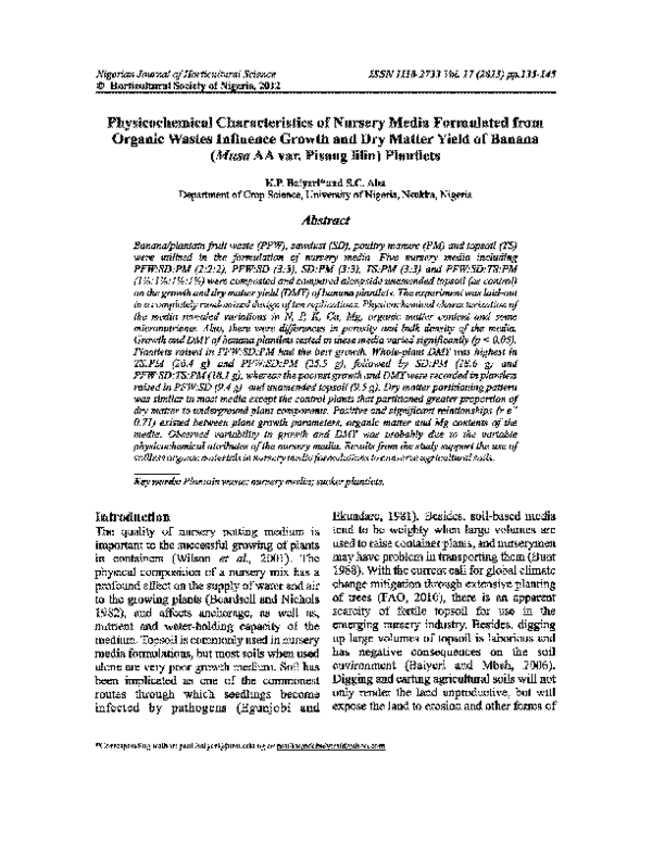 Pdf Physicochemical Characteristics Of Nursery Media Formulated From Organic Wastes Influenced Growth And Dry Matter Yield Of Banana Musa Aa Var Pisang Lilin Plantlets Simon Aba Academia Edu