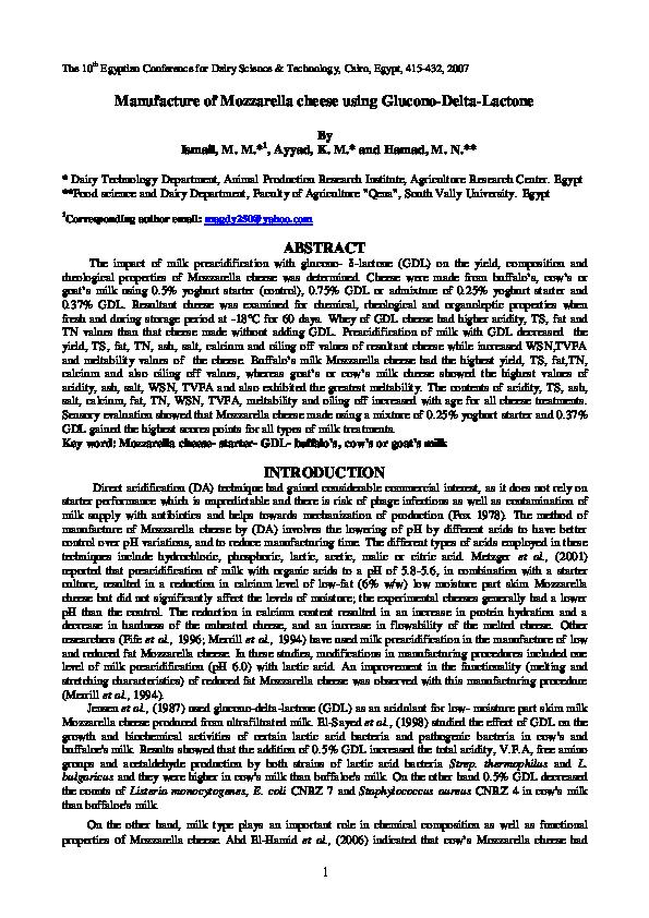 PDF) Manufacture of Mozzarella cheese using Glucono-Delta-Lactone