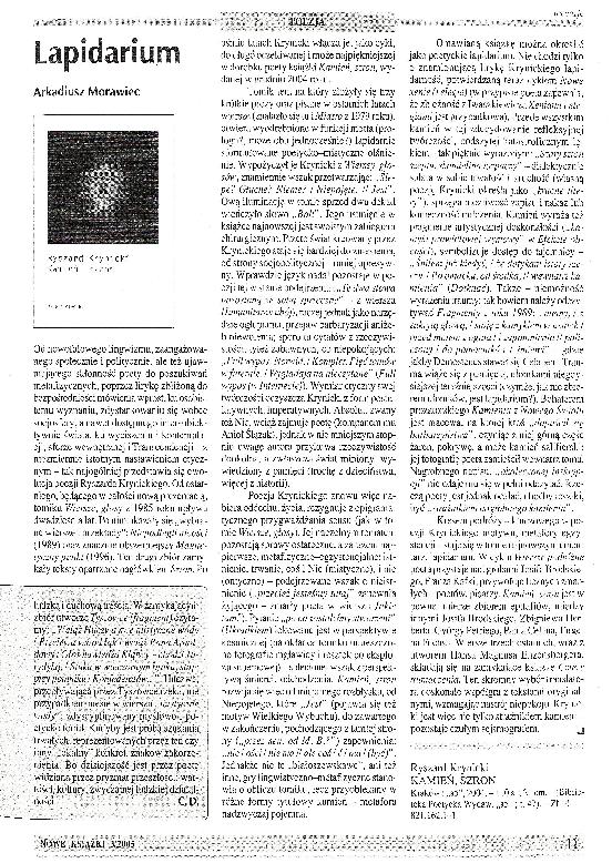 Pdf Lapidarium Review Ryszard Krynicki Kamień Szron