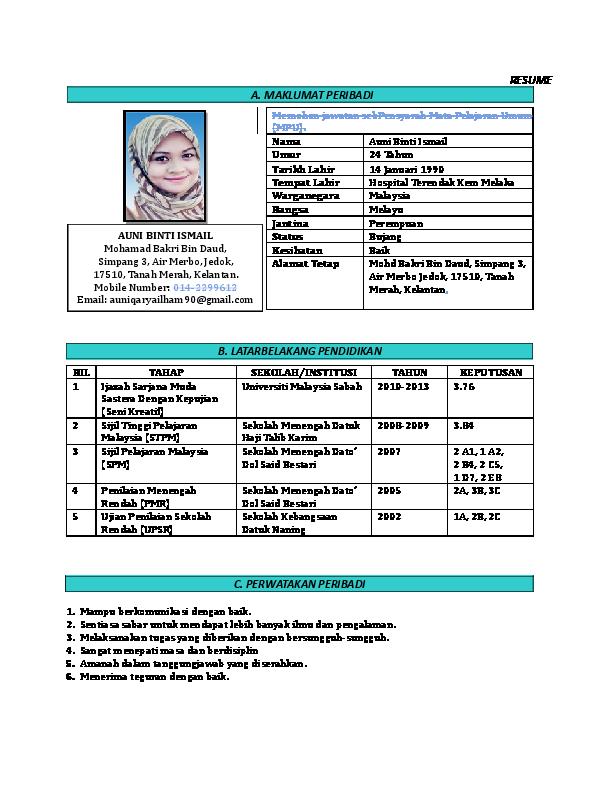 Pdf Contoh Resume Auni Ismail Academia Edu