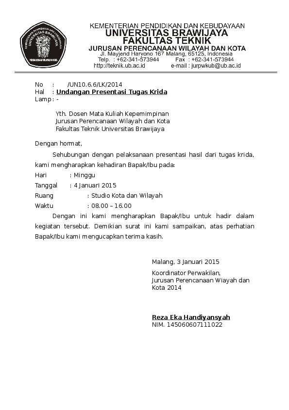 Doc Surat Undangan Presentasi Arini Wafiya Academia Edu