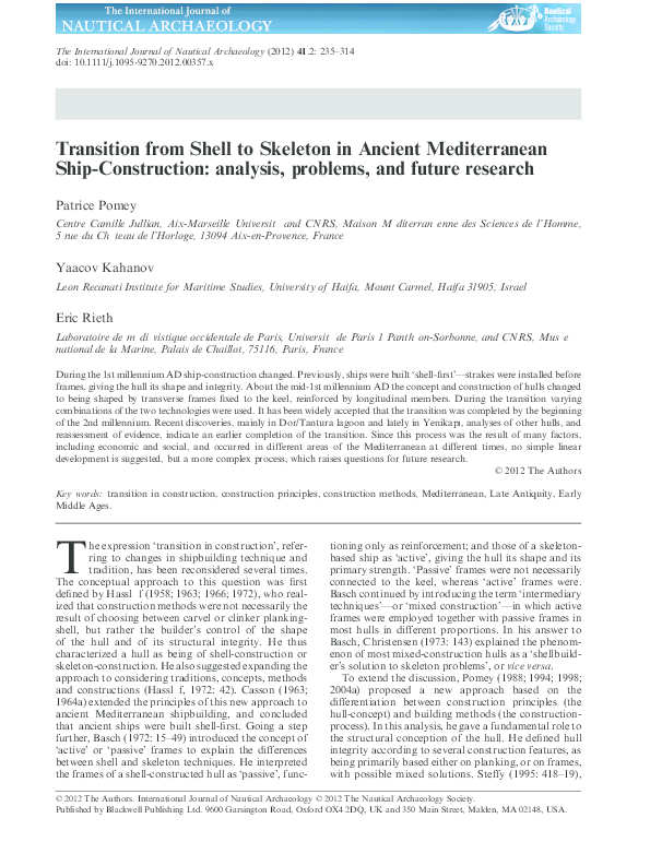 PDF) Transition from Shell to Skeleton in Ancient