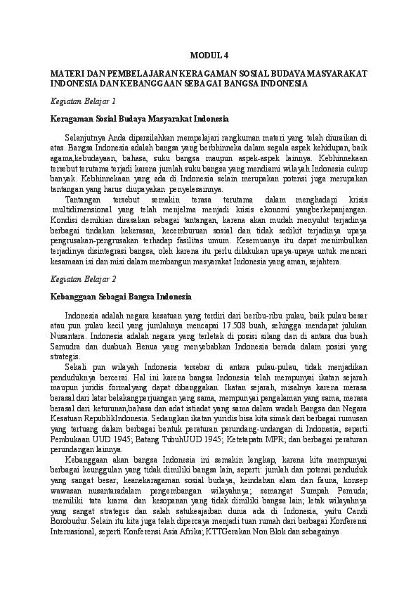 Doc Modul 4 Materi Dan Pembelajaran Keragaman Sosial Budaya Masyarakat Indonesia Dan Kebanggaan Sebagai Bangsa Indonesia Umi Sa Adah Academia Edu