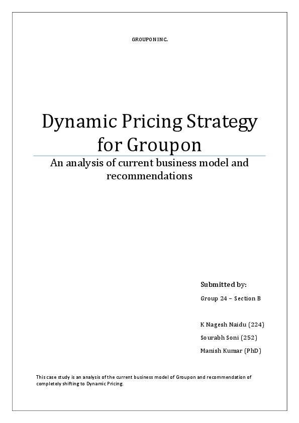 PDF) Dynamic Pricing Strategy for Groupon An analysis of current