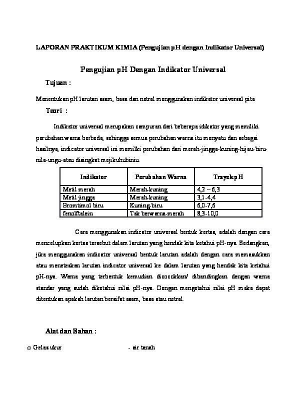 Doc Laporan Praktikum Kimia Pengujian Ph Dengan Indikator Universal Magdha Gebdita Rusman Academia Edu