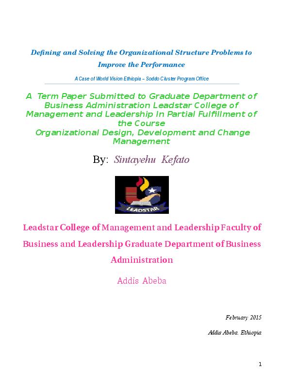 DOC) Term Paper- Organization`s structural problem-Sintayehu Kefato