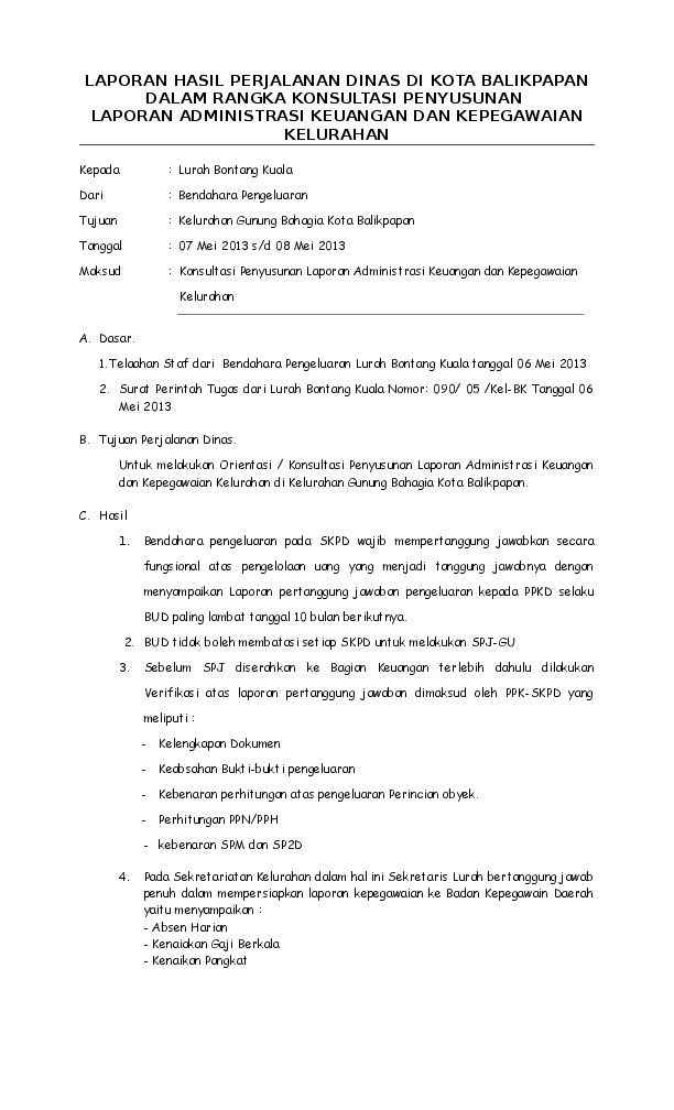 Format Laporan Perjalanan Dinas 2020 Seputar Laporan
