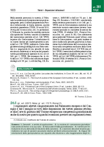 PDF) Commento all'articolo 261 TFUE | Daniele Domenicucci