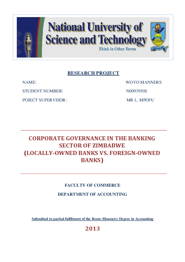 PDF) Corporate governance in the banking sector of Zimbabwe (locally