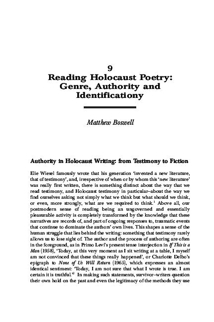 Pdf Reading Holocaust Poetry Genre Authority And Identification Matthew Boswell Academia Edu