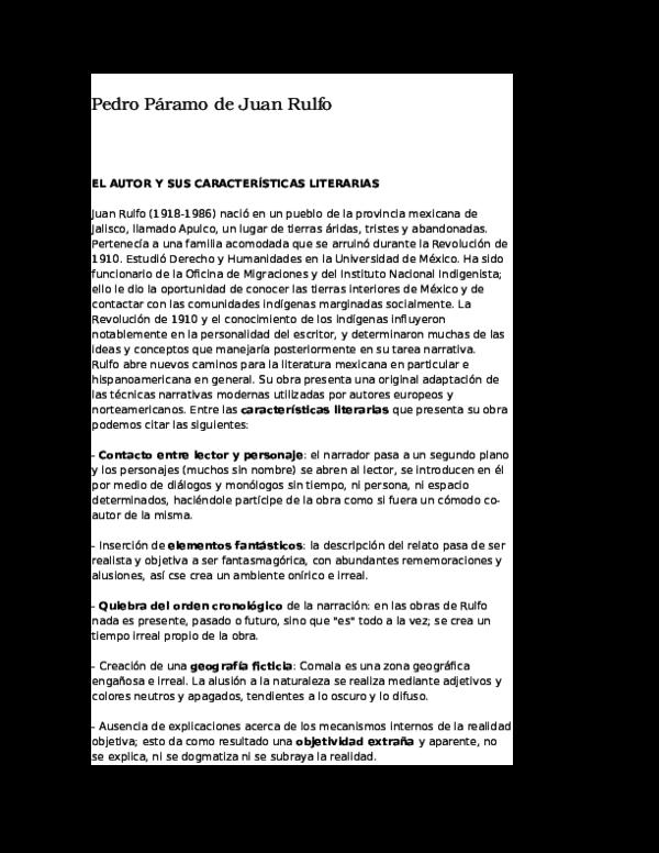 Doc Pedro Páramo De Juan Rulfo Zoili Noboa Academia Edu