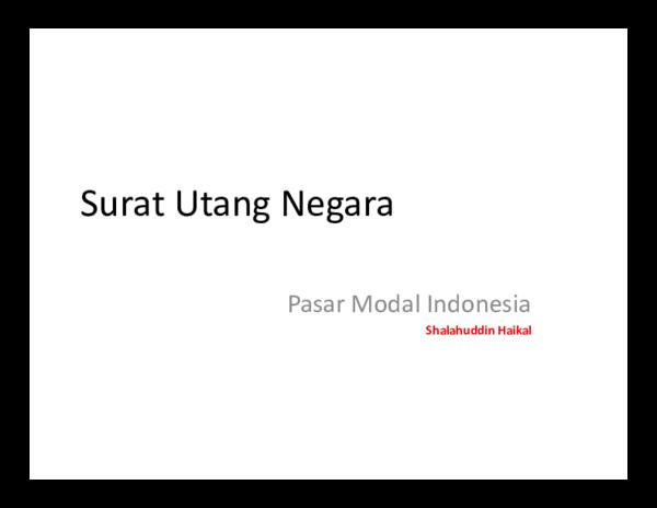 Pdf Surat Utang Negara Pasar Modal Indonesia Denny A