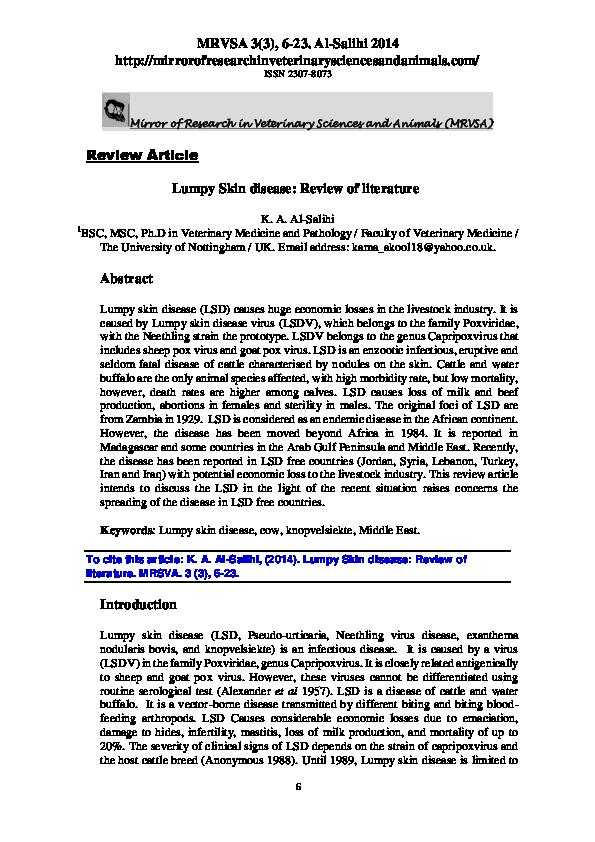 PDF) Lumpy Skin disease: Review of literature | Karima Al-Salihi
