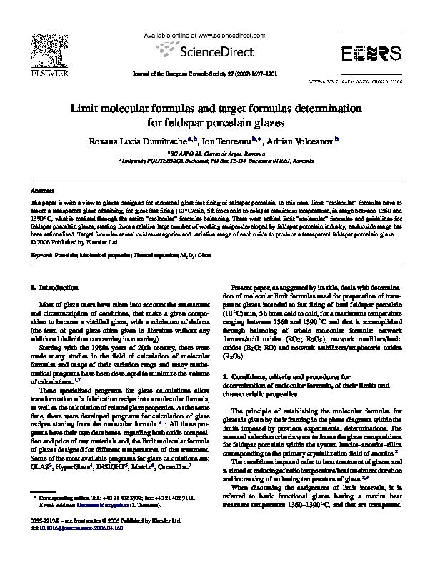 PDF) Limit molecular formulas and target formulas
