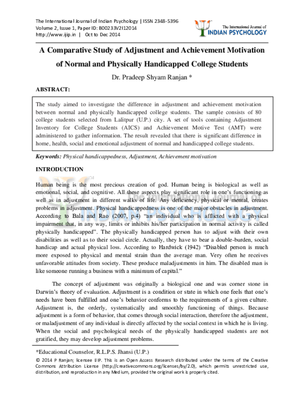 PDF) A Comparative Study of Adjustment and Achievement