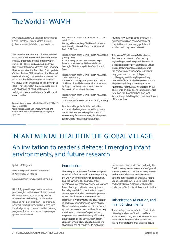 PDF) INFANT MENTAL HEALTH IN THE GLOBAL VILLAGE | Niels